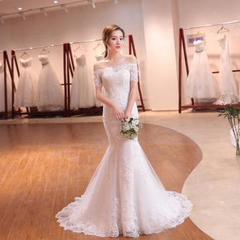 Leondo Lace Bridal Dress Off the Shoulder Short Sleeve Mermaid Wedding Dress For Bridal Gowns with Sequins - intl