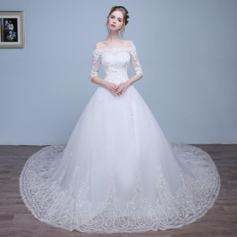 Leondo off the shoulder bridal dress half sleeves lace long train wedding gowns (ivory) - intl