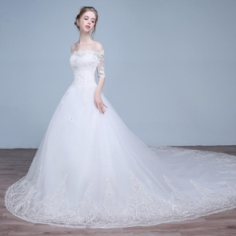 Leondo off the shoulder bridal dress half sleeves lace long train wedding gowns (ivory) - intl - 3