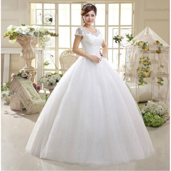 Leondo strapless a-line ivory ball gown plus size wedding dresses with short sleeves - intl - 2