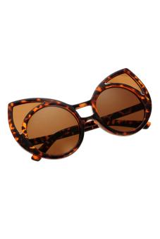 Leopard Vintage Cat ears Shape Sunglasses (Brown)