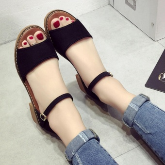 Leyi Ms. Fashion Contracted Pure Color Sandals (Black) - intl - 3
