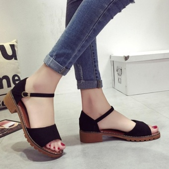 Leyi Ms. Fashion Contracted Pure Color Sandals (Black) - intl - 4