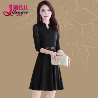 Li Fanghan version long section Slim fit long-sleeved a word dress New style dress (Black)