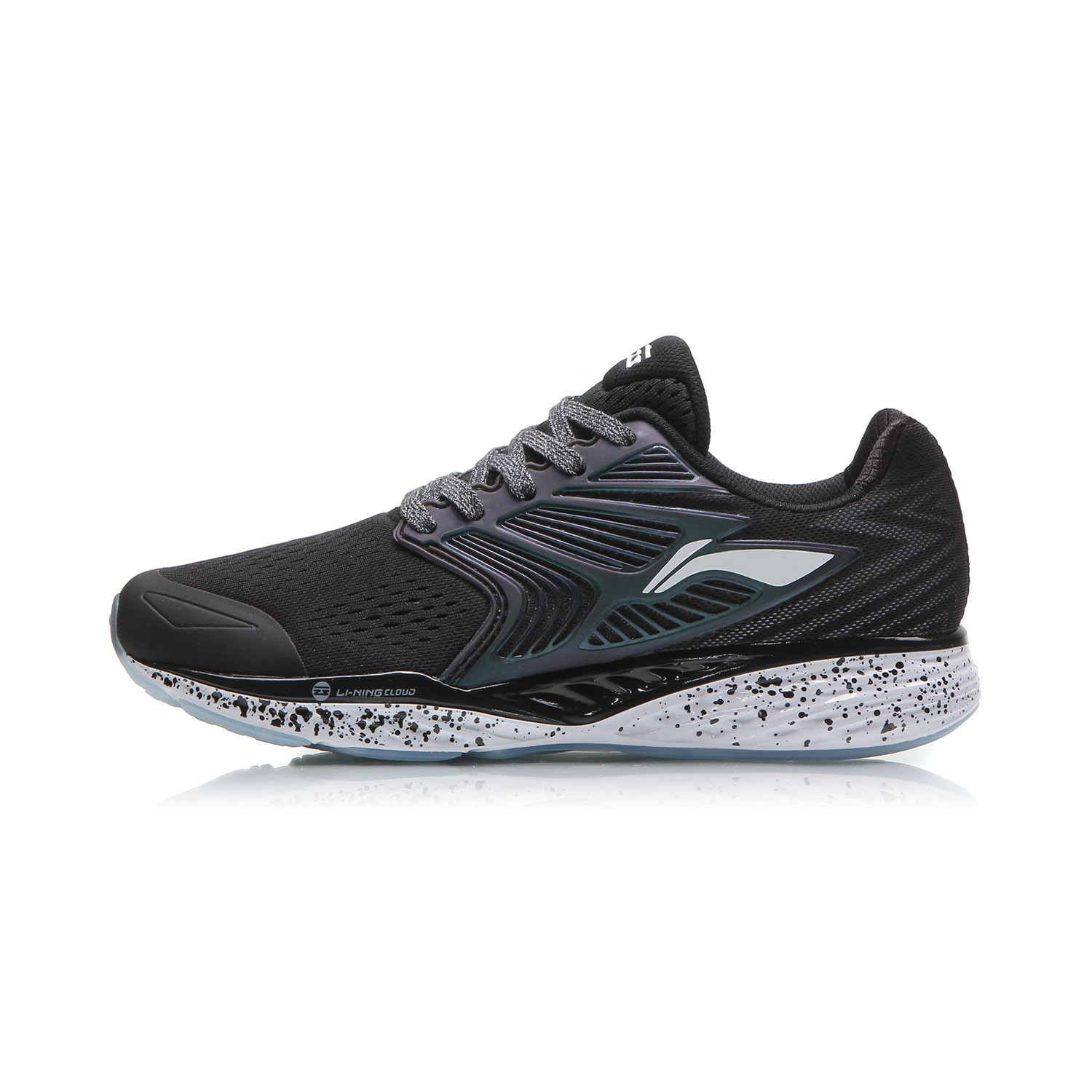 Li Ning Summer New Breathable Cushioning Sports Shoes Running Basic Black
