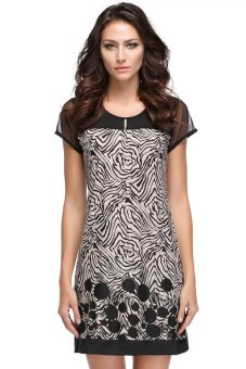 Linemart Casual Short Sleeve Suit Splice Mini Dress (Black/Beige)