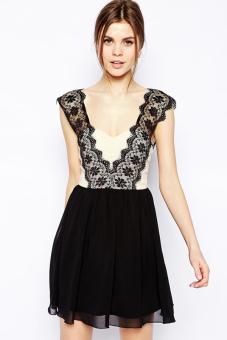 Linemart Lace Splice Women Backless Chiffon Dress Mini (Black)
