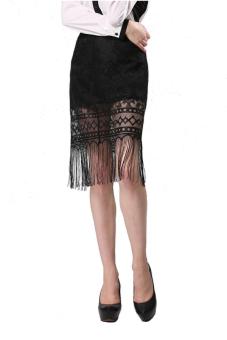 Linemart Lace Tassel Skirt (Black)