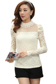 Linemart Long Sleeve Women Lace Blouse Tops (Apricot)