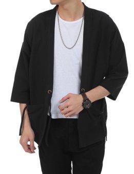 Linemart New Men Casual Open Stitch Front Pockets Drawstring Long Sleeve Solid Loose Coat Kimono ( Black ) - intl - 2