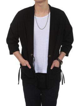 Linemart New Men Casual Open Stitch Front Pockets Drawstring Long Sleeve Solid Loose Coat Kimono ( Black ) - intl - 3