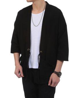 Linemart New Men Casual Open Stitch Front Pockets Drawstring LongSleeve Solid Loose Coat Kimono ( Black ) - intl - 4