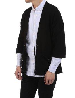 Linemart New Men Casual Open Stitch Front Pockets Drawstring LongSleeve Solid Loose Coat Kimono ( Black ) - intl - 5