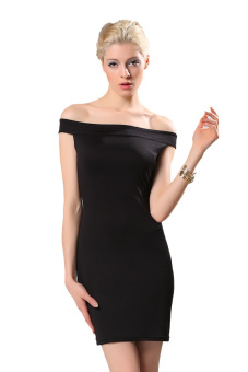 Linemart Off Shoulder Bodycon Mini Dress (Black)