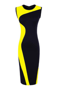 Linemart Sleeveless Bodycon Dress (Blue/Yellow)