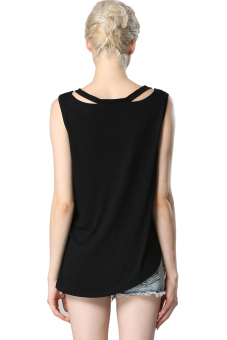 Linemart V-neck Women Casual Tank Tops Shirts ( Black ) - picture 2