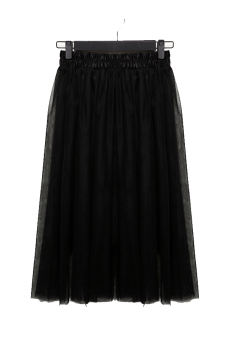Linemart Women Chiffon Maxi Skirt (Black)