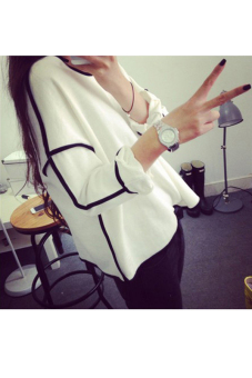 Linemart Women Loose Geometric Design Long Sleeve Tops (White) - picture 2