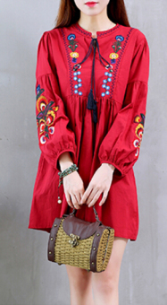 Linen autumn New style dress (Red)