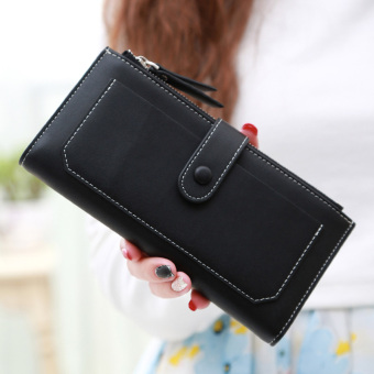 Linjiaxiaofei female New style Japanese and Korean style double leather wallet women's wallet (Black 2)