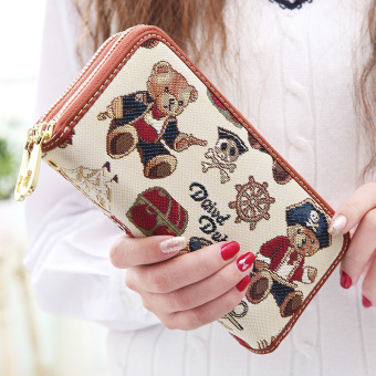 Linjiaxiaofei New style female Japanese and Korean style zip clutch bag wallet (New pirate world white)