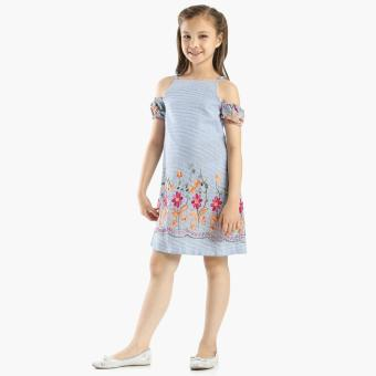 Little Miss Girls Flower Embroidered Cold Shoulder Dress (Blue)