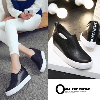 Lok Fu shoes European and American style letters spell color heavy-bottomed casual shoes muffin shoes (Black)