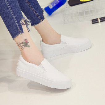 Lok Fu shoes Korean-style autumn New style female casual canvas shoes (White)