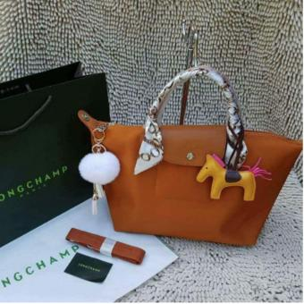 Long-champ Neo Pliage Small Short handle Free Twilly & RodeoCharm Authentic (CARAMEL)