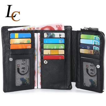 Long Genuine Leather Wallet for Men Hight Quality Soft Brand Clutch Zipper Mens Wallet Fashion Leather Wallets with Card Holder - 2