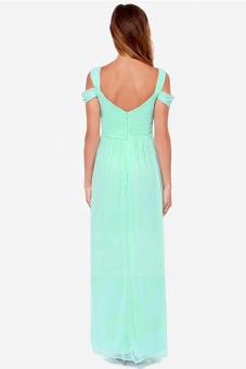 Long Maxi Chiffon Dress (Green) - picture 2