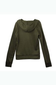 Long Sleeve Hooded Sweatshirt Pullover (Green) - picture 2