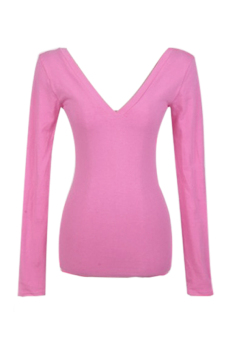 Long Sleeve Low V-neck Backless Bottoming Shirt T-Shirt (Pink)