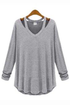 Long Sleeve V Neck Short Blouse (Grey)