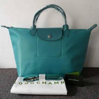 Longchamp Medium Nylon Tote Bag From Italy TURQUOISE BLUE