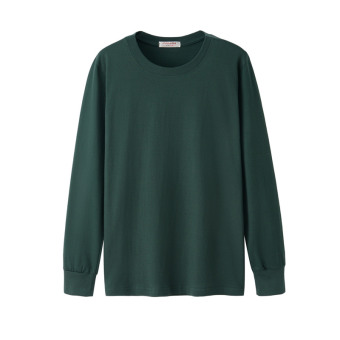 LOOESN autumn men Plus-sized long-sleeved heattech I shirt (Long-sleeved solid color dark green color)