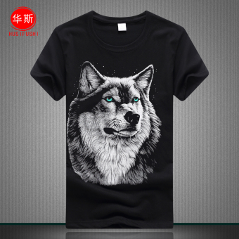 LOOESN cotton round neck youth Plus-sized base shirt men's short sleeved t-shirt shirt (Wolf head black)