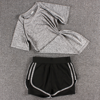 LOOESN female fitness room running pants yoga clothes (Colorful t gray + three side shorts colorful gray)