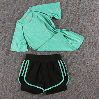 LOOESN female fitness room running pants yoga clothes (Colorful t green + three side shorts colorful green)