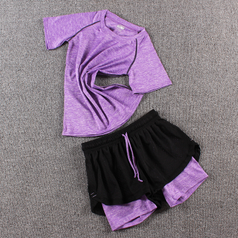 LOOESN female fitness room running pants yoga clothes (Colorful t purple + porous pants colorful purple)