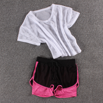 LOOESN female fitness room running pants yoga clothes (Network t white + new network shorts rose)