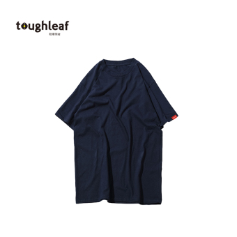 LOOESN Japanese-style solid color thick round neck t-shirt (Dark blue color)