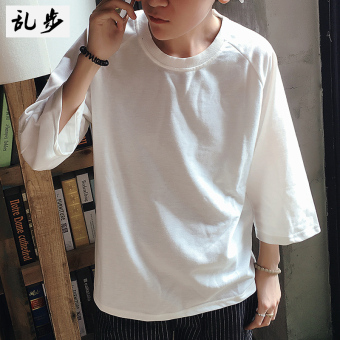 LOOESN Jianyue solid youth Capri half-sleeve shirt bottoming shirt T-shirt (516 three-quarter-length sleeve white)