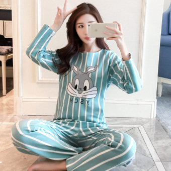 LOOESN Korean-style cotton female long-sleeved tracksuit pajamas (Bars blue rabbit)