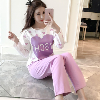 LOOESN Korean-style cotton female long-sleeved tracksuit pajamas (Purple lovely)