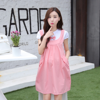 LOOESN Korean-style cotton mid-length maternity dress Dress (Pink short sleeved)