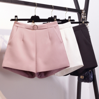 LOOESN Korean-style female student high-waisted suit casual pants shorts (Pink)