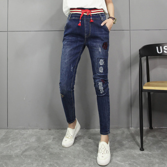 LOOESN Korean-style HarLan black New style pants jeans (Blue)