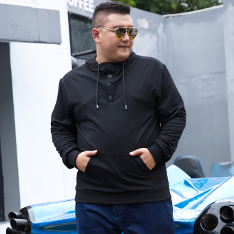 LOOESN Korean-style hooded Plus-sized extra-large jacket men's hoodie (Black)