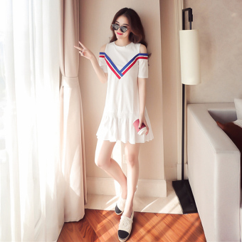 LOOESN Korean-style New style off-the-shoulder short sleeved flounced dress (White)